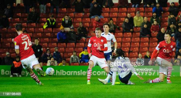 Preston North End's Daniel Johnson scores his side's second goal during the Sky Bet Championship match between Barnsley and Preston North End at...