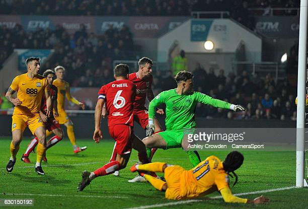Preston North End's Daniel Johnson scores his sides second goal during the Sky Bet Championship match between Bristol City and Preston North End at...