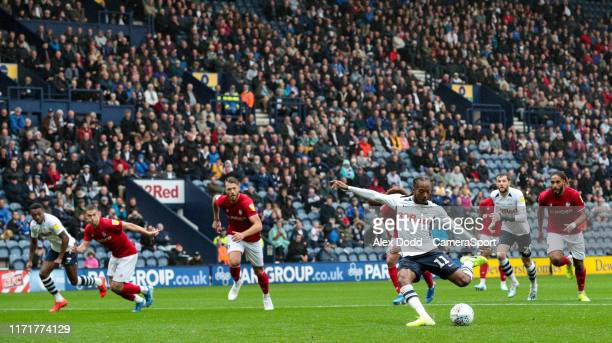 Preston North End's Daniel Johnson scores his side's second goal from the penalty spot during the Sky Bet Championship match between Preston North...