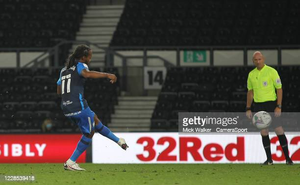 Preston North End's Daniel Johnson scores his side's second goal from the penalty spot during the Carabao Cup Second Round Northern Section match...