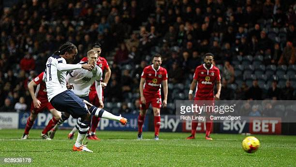 Preston North End's Daniel Johnson scores his sides second goal from the penalty spot during the Sky Bet Championship match between Preston North End...