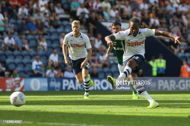 Preston North End's Daniel Johnson scores his sides second goal of the game from the penalty spot during the Sky Bet Championship match between...