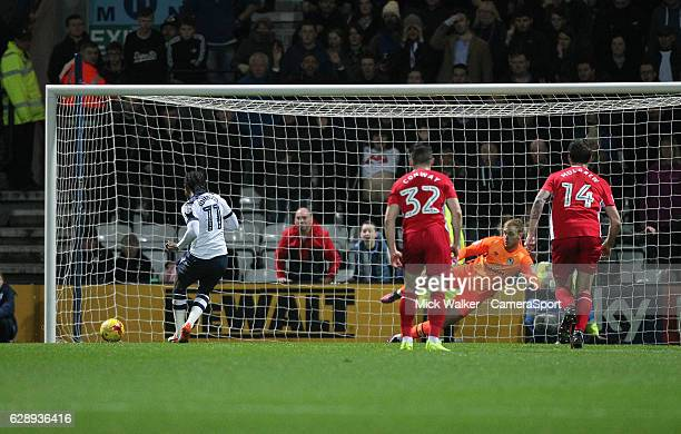Preston North End's Daniel Johnson scores his sides second goal beating Blackburn Rovers Jason Steele from the penalty spot during the Sky Bet...