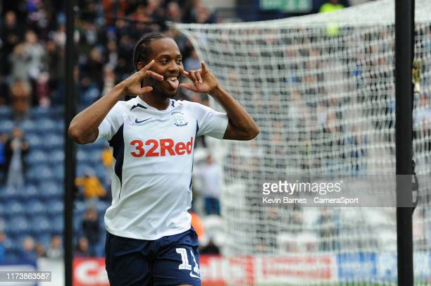 Preston North End's Daniel Johnson scores his side's third goal during the Sky Bet Championship match between Preston North End and Barnsley at...