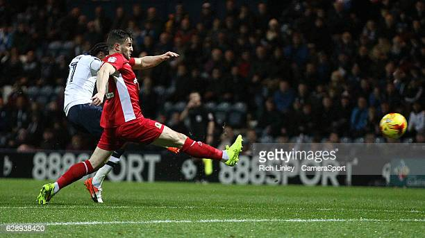 Preston North End's Daniel Johnson scores the opening goal during the Sky Bet Championship match between Preston North End v Blackburn Rovers at...
