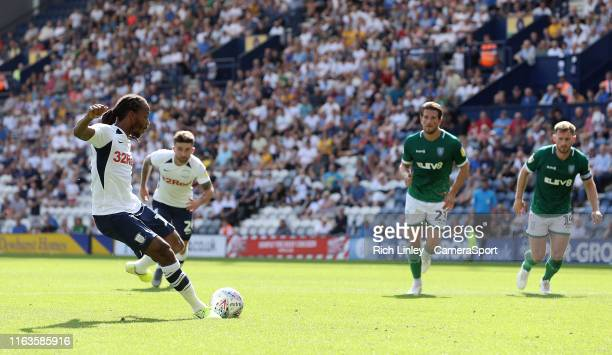 Preston North End's Daniel Johnson scores the opening goal from the penalty spot during the Sky Bet Championship match between Preston North End and...