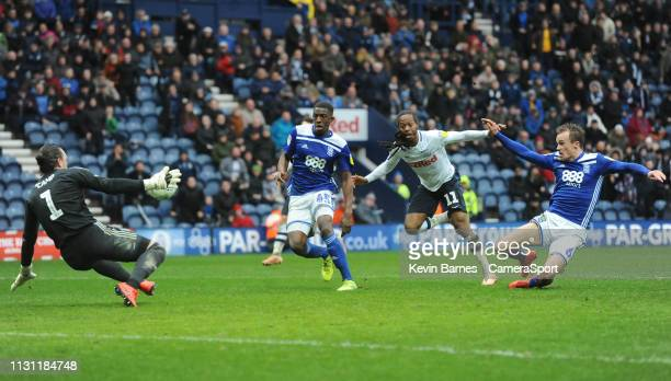 Preston North End's Daniel Johnson sees his shot saved by Birmingham City's Lee Camp during the Sky Bet Championship match between Preston North End...
