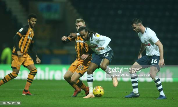 Preston North End's Daniel Johnson shields the ball from Hull City's Jarrod Bowen during the Sky Bet Championship match between Preston North End and...