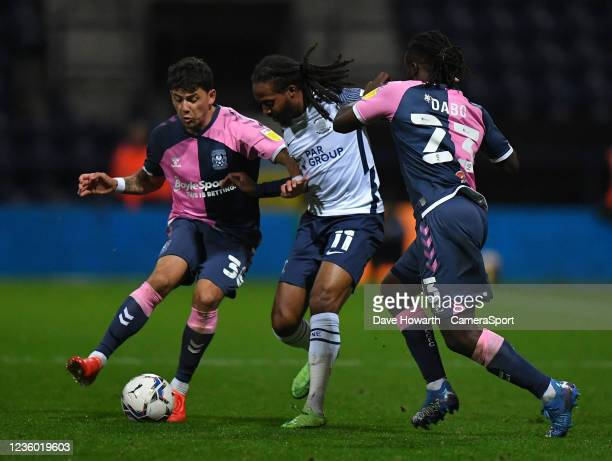 Preston North End's Daniel Johnson tries to find a way past the Coventry City defence during the Sky Bet Championship match between Preston North End...
