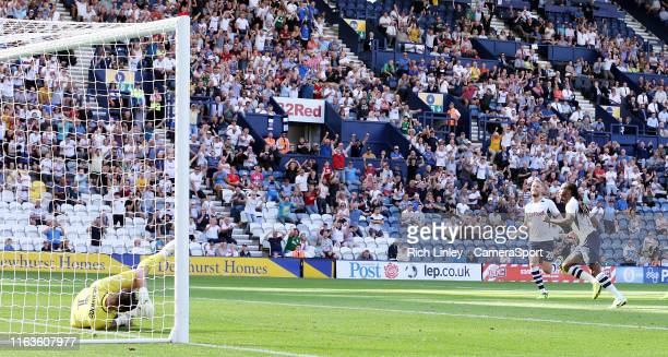 Preston North End's Daniel Johnson wheels away in celebration after scoring his side's second goal from the penalty spot during the Sky Bet...
