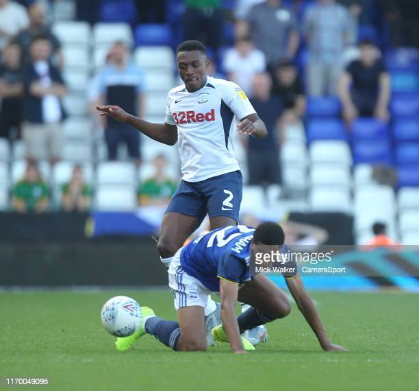 Preston North End's Darnell Fisher battles with Birmingham City's Jude Bellingham during the Sky Bet Championship match between Birmingham City and...