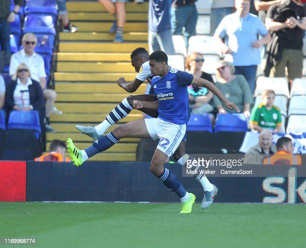 Preston North End's Darnell Fisher in action with Birmingham City's Jude Bellingham during the Sky Bet Championship match between Birmingham City and...