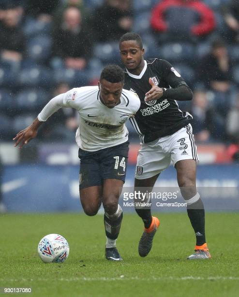 Preston North End's Darnell Fisher in action with Fulham's Ryan Sessegnon during the Sky Bet Championship match between Preston North End and Fulham...