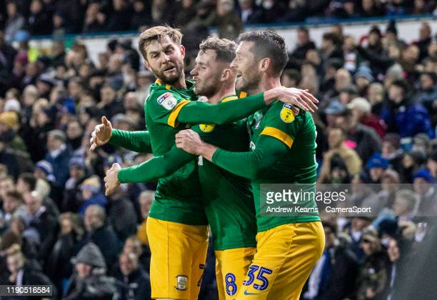 Preston North End's David Nugent celebrates scoring his side's first goal during the Sky Bet Championship match between Leeds United and Preston...