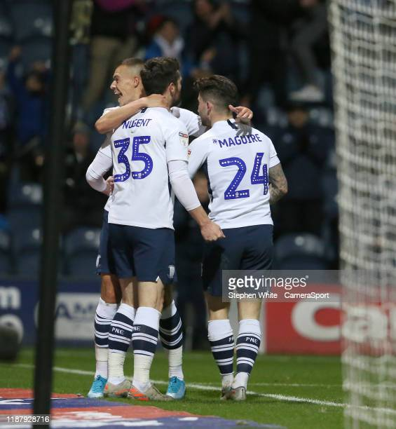 Preston North End's David Nugent celebrates scoring his side's second goal during the Sky Bet Championship match between Preston North End and Fulham...