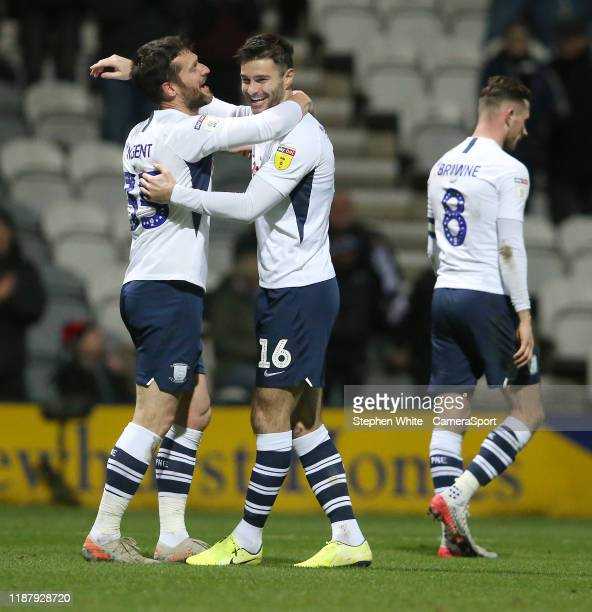Preston North End's David Nugent celebrates scoring his side's second goal with teammate Andrew Hughes during the Sky Bet Championship match between...