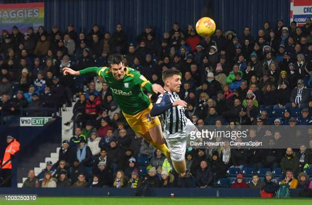 Preston North End's David Nugent has an acrobatic attempt on goal during the Sky Bet Championship match between West Bromwich Albion and Preston...