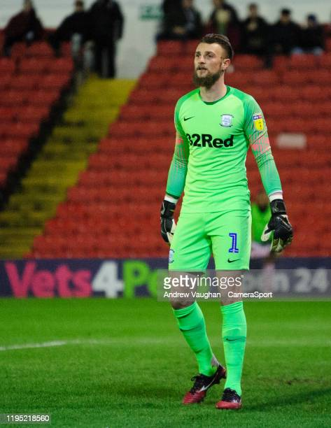 Preston North End's Declan Rudd during the Sky Bet Championship match between Barnsley and Preston North End at Oakwell Stadium on January 21 2020 in...