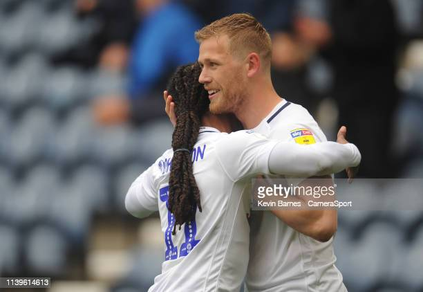 Preston North End's Jayden Stockley celebrates scoring the opening goal with teammate Daniel Johnson during the Sky Bet Championship match between...