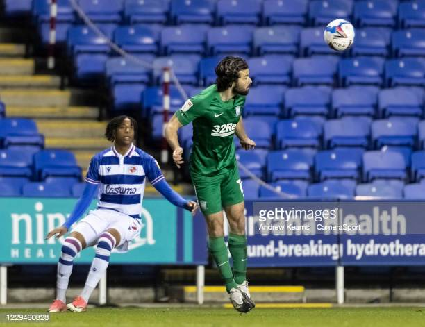 Preston North End's Joe Rafferty heads clear during the Sky Bet Championship match between Reading and Preston North End at Madejski Stadium on...