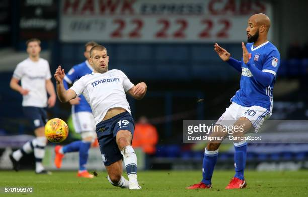 Preston North End's John Welsh intercepts a ball before it can reach Ipswich Town's David McGoldrick during the Sky Bet Championship match between...