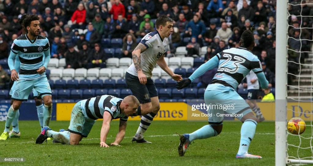 Preston North End's Jordan Hugill scores his sides second goal during the Sky Bet Championship match between Preston North End and Queens Park Rangers at Deepdale on February 25, 2017 in Preston, England.
