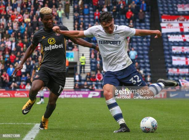 Preston North End's Josh Earl takes on Sunderland's Didier Ndong during the Sky Bet Championship match between Preston North End and Sunderland at...