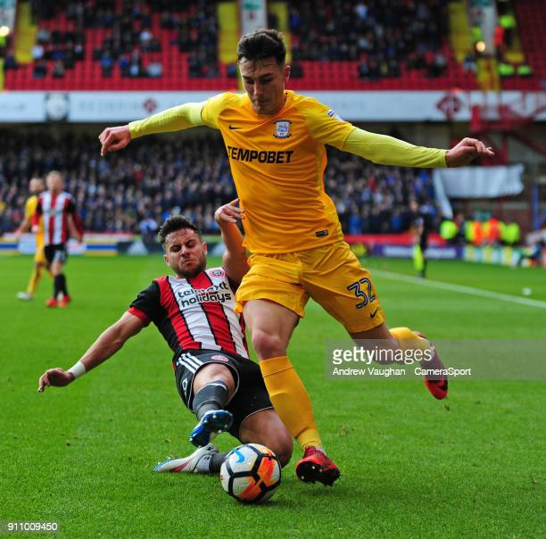 Preston North End's Josh Earl vies for possession with Sheffield United's George Baldock during the The Emirates FA Cup Fourth Round match between...