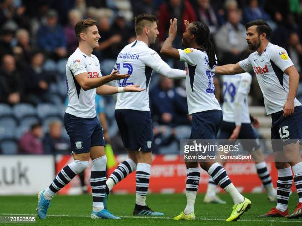 Preston North End's Josh Harrop celebrates scoring his side's fifth goal with teammate Daniel Johnson during the Sky Bet Championship match between...