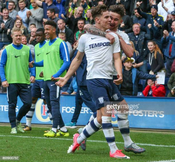 Preston North End's Josh Harrop celebrates scoring his side's first goal with teammate Sean Maguire during the Sky Bet Championship match between...