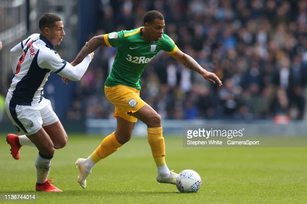 Preston North End's Lukas Nmecha shields the ball from West Bromwich Albion's Jake Livermore during the Sky Bet Championship match between West...