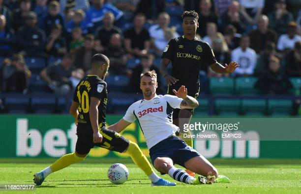Preston North End's Patrick Bauer battles with Brentford's Said Benrahma Preston North End v Brentford Sky Bet Championship Deepdale