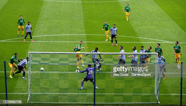 Preston North End's Patrick Bauer goes close with a header during the Sky Bet Championship match between Sheffield Wednesday and Preston North End at...