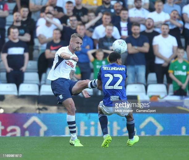 Preston North End's Patrick Bauer in action with Birmingham City's Jude Bellingham during the Sky Bet Championship match between Birmingham City and...