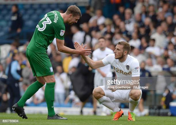 Preston North End's Paul Huntington and Leeds United's Chris Wood shake hands at the final whistle of the Sky Bet Championship match at Elland Road...