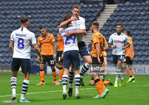 Preston North End's Paul Huntington celebrates scoring his sides opening goal during the Carabao Cup Second Round match between Preston North End and...