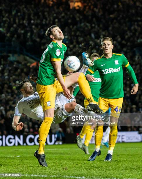 Preston North End's Paul Huntington competing with Leeds United's Jack Harrison during the Sky Bet Championship match between Leeds United and...