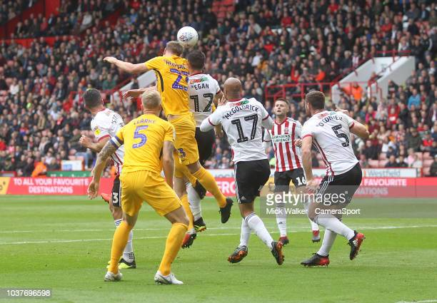 Preston North End's Paul Huntington gets a header on goal during the Sky Bet Championship match between Sheffield United and Preston North End at...