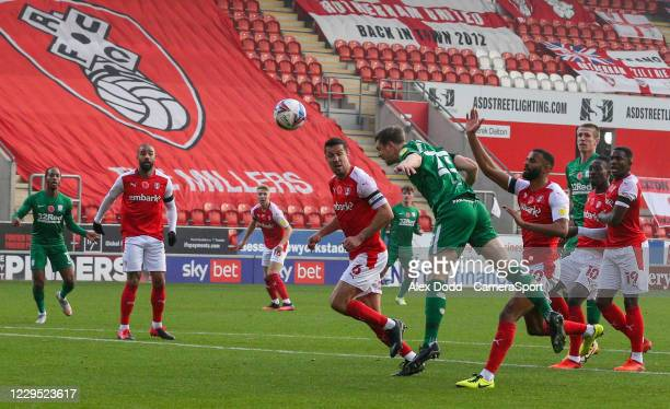 Preston North End's Paul Huntington heads at goal during the Sky Bet Championship match between Rotherham United and Preston North End at AESSEAL New...