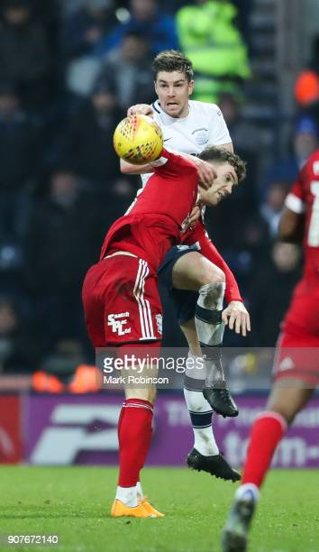 Preston North End's Paul Huntington heads the ball under a challenge from Birmingham City's Sam Gallagher during the Sky Bet Championship match...
