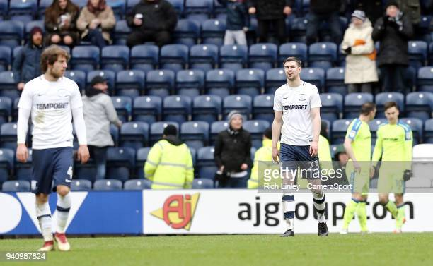 Preston North End's Paul Huntington looks dejected after Derby County's Tom Lawrence's scored the opening goal from a free-kick during the Sky Bet...
