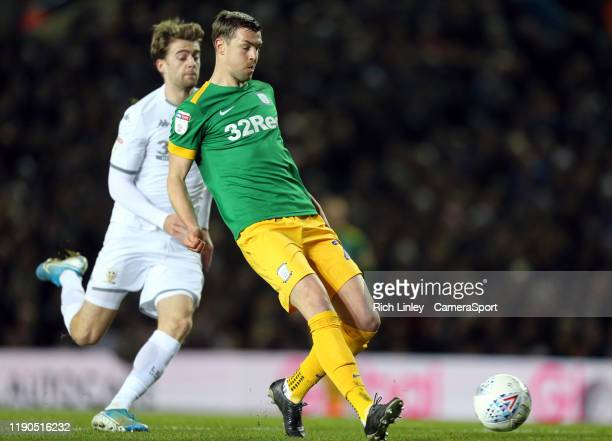 Preston North End's Paul Huntington under pressure from Leeds United's Patrick Bamford during the Sky Bet Championship match between Leeds United and...