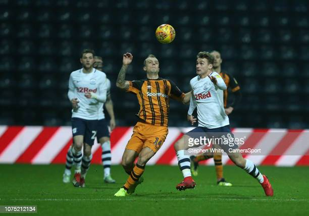 Preston North End's Ryan Ledson and Hull City's Kamil Grosicki during the Sky Bet Championship match between Preston North End and Hull City at...