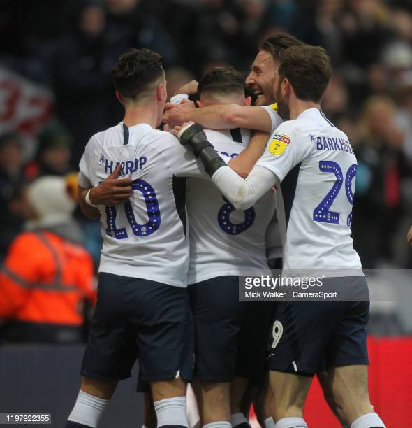 Preston North End's Scott Sinclair celebrates scoring his sides first goal during the Sky Bet Championship match between Preston North End and...