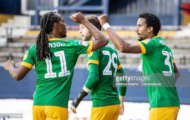 Preston North End's Scott Sinclair celebrates scoring his side's first goal with team mate Daniel Johnson during the Sky Bet Championship match...