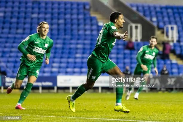 Preston North End's Scott Sinclair celebrates scoring his side's first goal during the Sky Bet Championship match between Reading and Preston North...