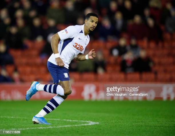 Preston North End's Scott Sinclair during the Sky Bet Championship match between Barnsley and Preston North End at Oakwell Stadium on January 21 2020...
