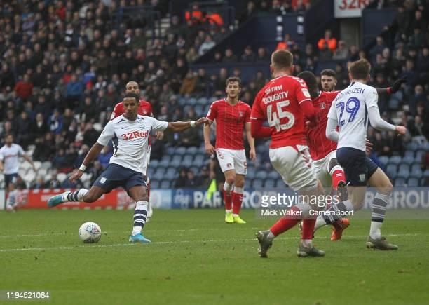 Preston North End's Scott Sinclair gets a shot on goal during the Sky Bet Championship match between Preston North End and Charlton Athletic at...