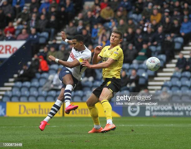Preston North End's Scott Sinclair gets a shot on goal during the Sky Bet Championship match between Preston North End and Millwall at Deepdale on...