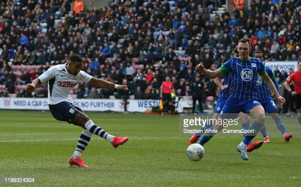 Preston North End's Scott Sinclair just misses the goal with this shot during the Sky Bet Championship match between Wigan Athletic and Preston North...